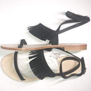 CORNETTI xRevolve Suede Fringe Ankle Strap Sandals